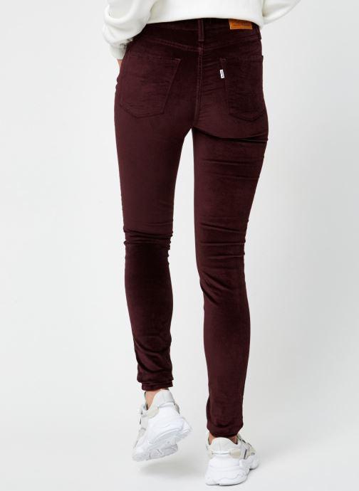 Vêtements Levi's 721™ High Rise Skinny Bordeaux vue portées chaussures