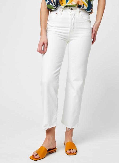 Vêtements Levi's Ribcage Straight Ankle Blanc vue détail/paire