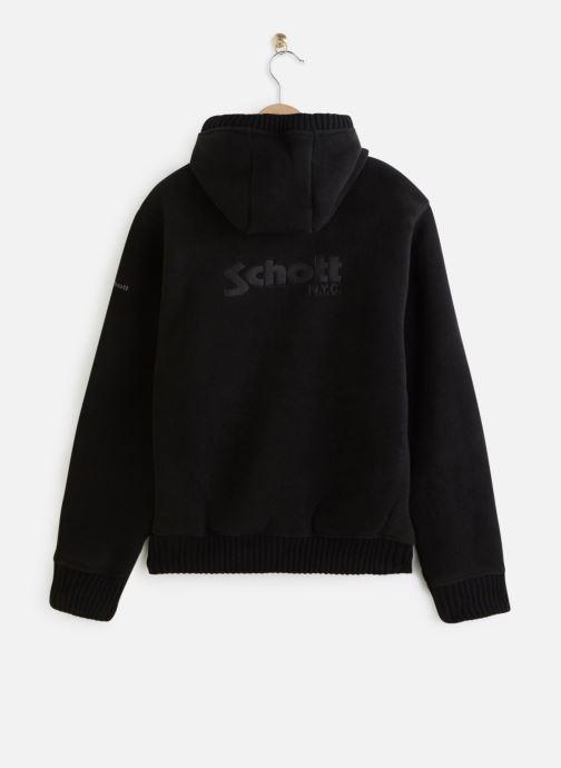 Vêtements Schott Sweat Sherpa Zippe Capuche Noir vue bas / vue portée sac