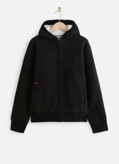 Vêtements Schott Sweat Sherpa Zippe Capuche Noir vue détail/paire