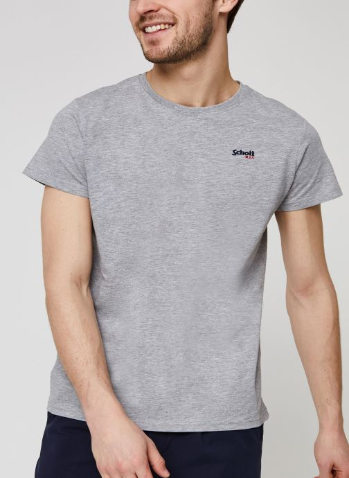 Vêtements Schott Tshirt Brode  Nyc Gris vue détail/paire