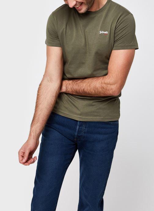 Vêtements Schott Tshirt Brode  Nyc Vert vue détail/paire