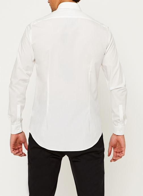Vêtements Calvin Klein 2Ply Poplin Stretch Slim Shirt Blanc vue portées chaussures