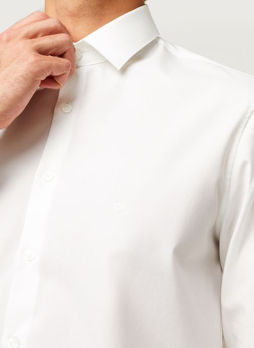 Vêtements Calvin Klein 2Ply Poplin Stretch Slim Shirt Blanc vue face
