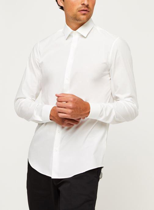 Kleding Calvin Klein 2Ply Poplin Stretch Slim Shirt Wit rechts