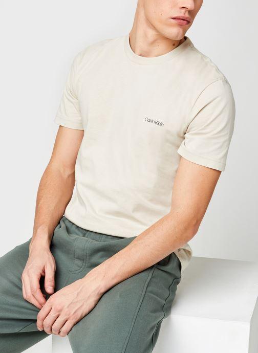 Vêtements Calvin Klein Cotton Chest Logo T-Shirt Beige vue détail/paire