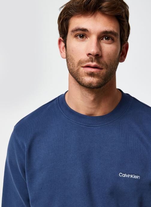 Vêtements Calvin Klein Logo Embroidery Sweatshirt Bleu vue face