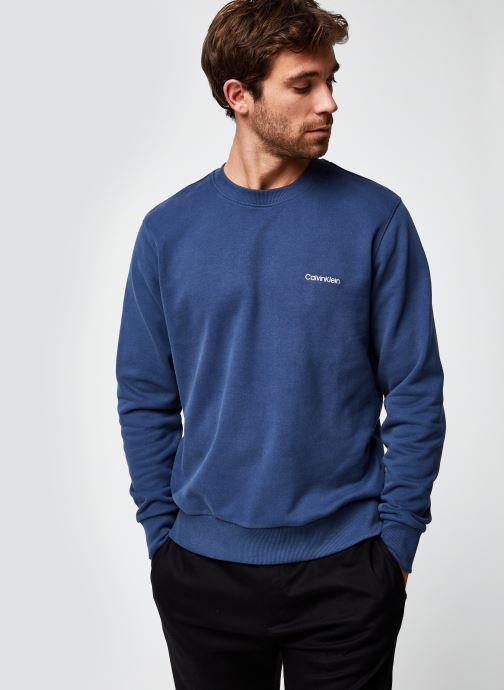 Vêtements Calvin Klein Logo Embroidery Sweatshirt Bleu vue droite