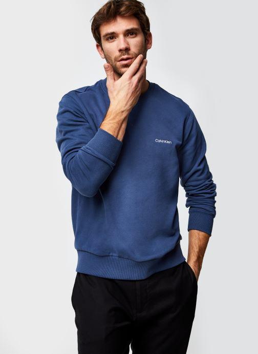 Vêtements Calvin Klein Logo Embroidery Sweatshirt Bleu vue détail/paire