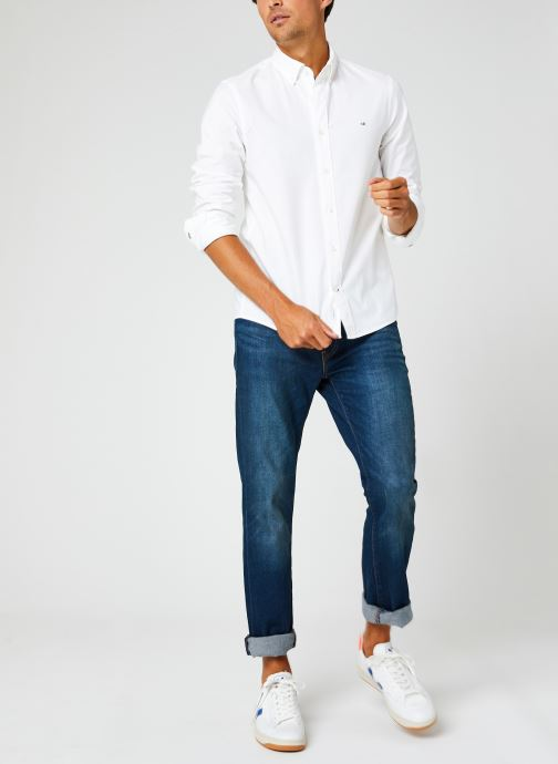 Kleding Calvin Klein Slim Fit Stretch Oxford Shirt Wit onder