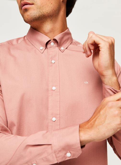 Kleding Calvin Klein Button Down Liquid Touch Shirt Roze voorkant