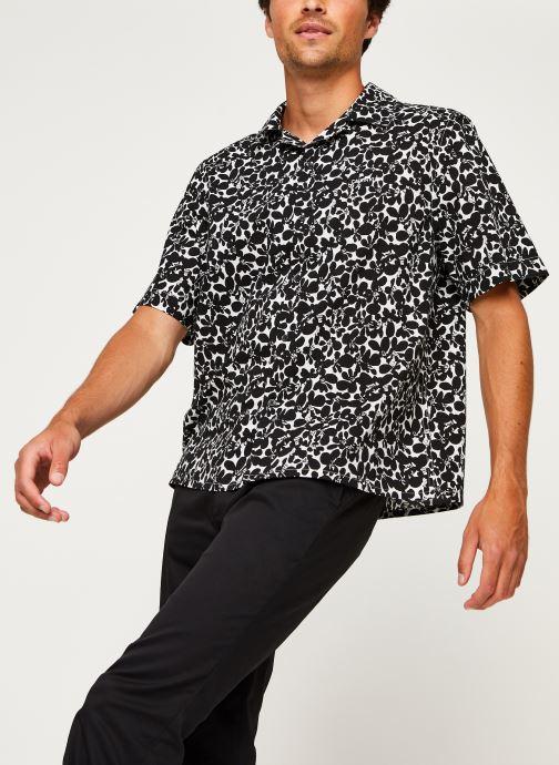 Kleding Calvin Klein Cuban Collar Flower Shirt Zwart rechts