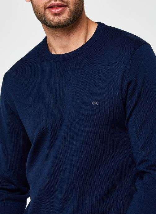 Vêtements Calvin Klein Superior Wool Crew Neck Sweater Bleu vue face