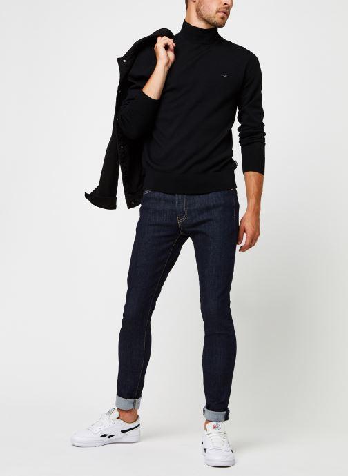 Kleding Calvin Klein Superior Wool Mock Pullover Zwart onder