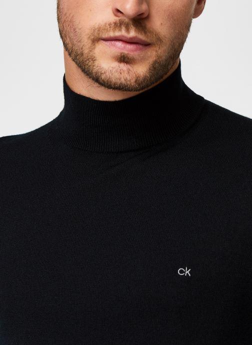 Kleding Calvin Klein Superior Wool Mock Pullover Zwart voorkant