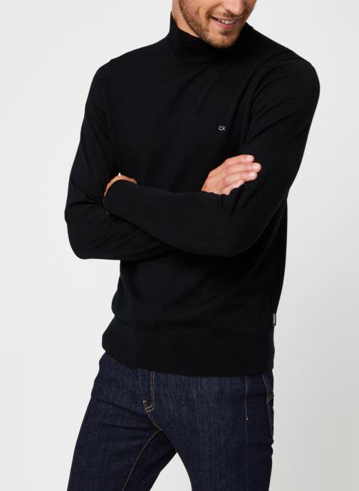 Kleding Calvin Klein Superior Wool Mock Pullover Zwart rechts
