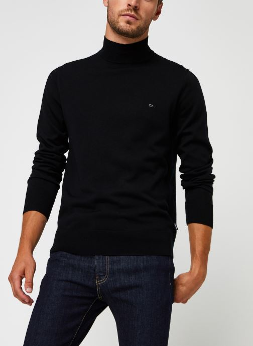 Kleding Calvin Klein Superior Wool Mock Pullover Zwart detail