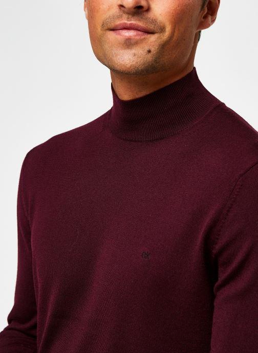 Kleding Calvin Klein Superior Wool Mock Pullover Bordeaux voorkant