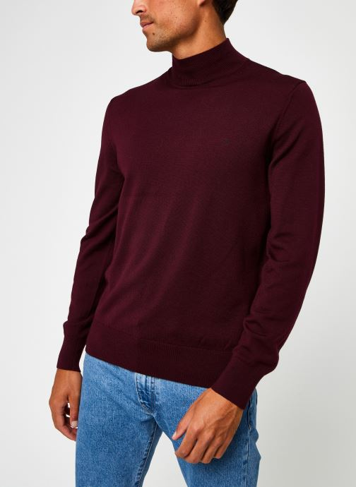 Kleding Calvin Klein Superior Wool Mock Pullover Bordeaux rechts