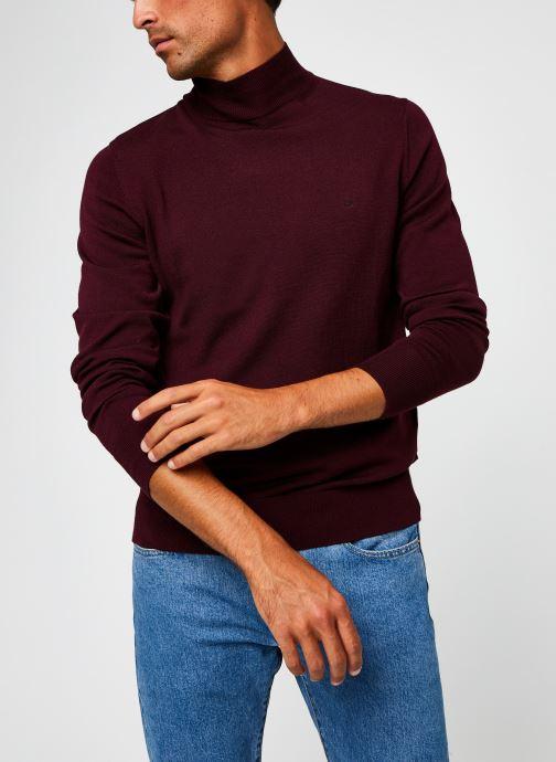 Kleding Calvin Klein Superior Wool Mock Pullover Bordeaux detail