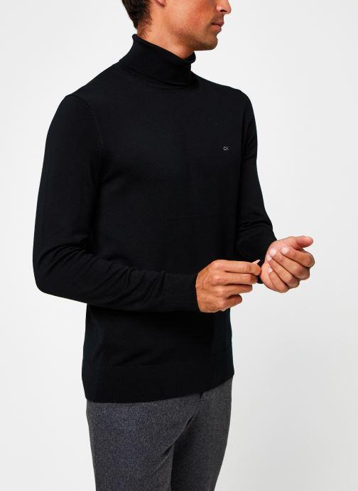 Vêtements Calvin Klein Superior Wool Turtle Nk Sweater Noir vue droite