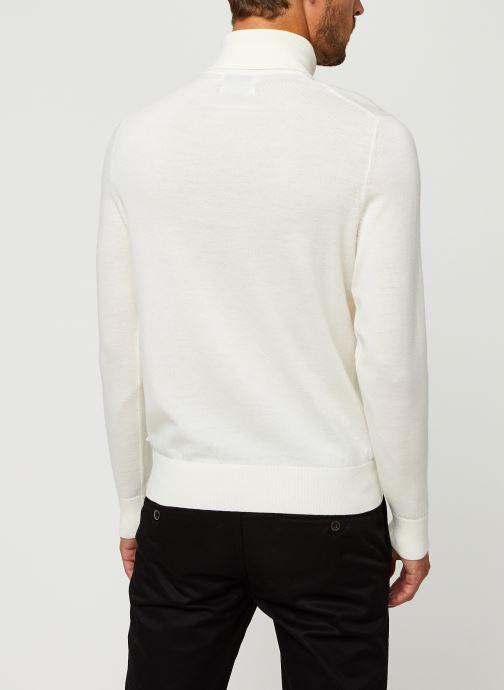 Vêtements Calvin Klein Superior Wool Turtle Nk Sweater Blanc vue portées chaussures