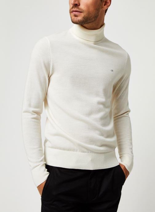 Vêtements Calvin Klein Superior Wool Turtle Nk Sweater Blanc vue droite