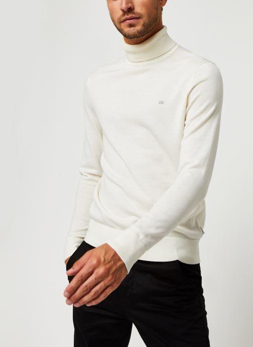 Vêtements Calvin Klein Superior Wool Turtle Nk Sweater Blanc vue détail/paire