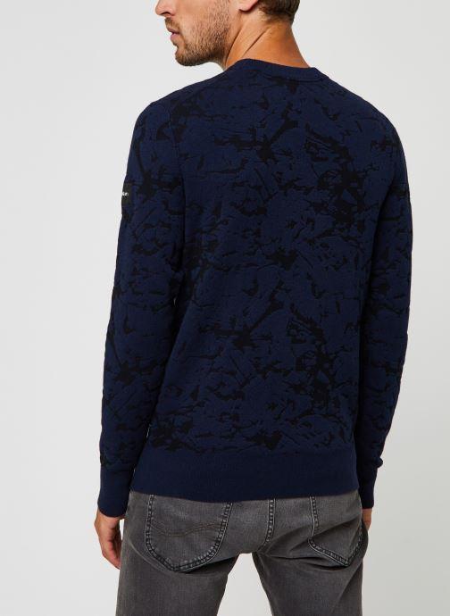 Kleding Calvin Klein Cotton Blend Abstract Sweater Blauw model
