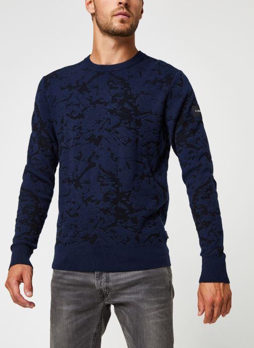 Kleding Calvin Klein Cotton Blend Abstract Sweater Blauw rechts