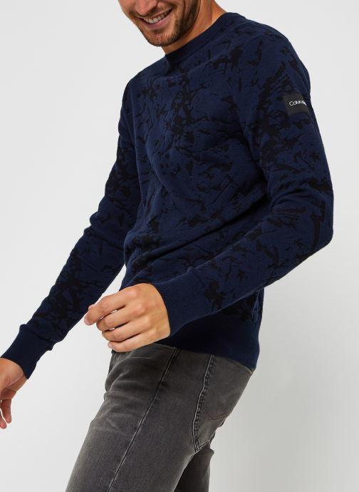 Kleding Calvin Klein Cotton Blend Abstract Sweater Blauw detail
