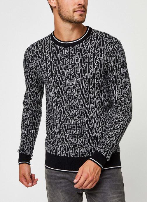 Kleding Calvin Klein All Over Jacquard Logo Sweater Zwart rechts