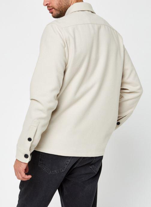 Vêtements Calvin Klein Wool Shirt Jacket Beige vue portées chaussures