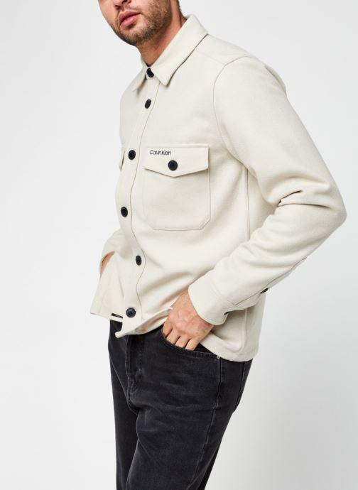 Vêtements Calvin Klein Wool Shirt Jacket Beige vue droite