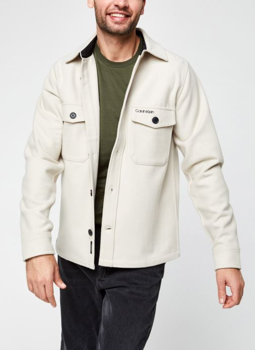 Vêtements Calvin Klein Wool Shirt Jacket Beige vue détail/paire
