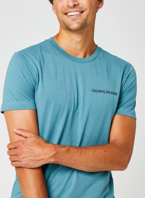 Kleding Calvin Klein Jeans Institutional Chest Logo Ss Tee Blauw voorkant