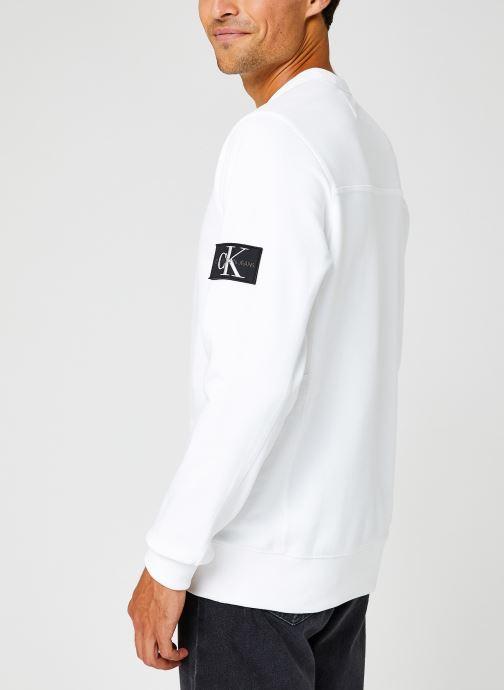 Kleding Calvin Klein Jeans Monogram Badge Crew Neck Wit rechts
