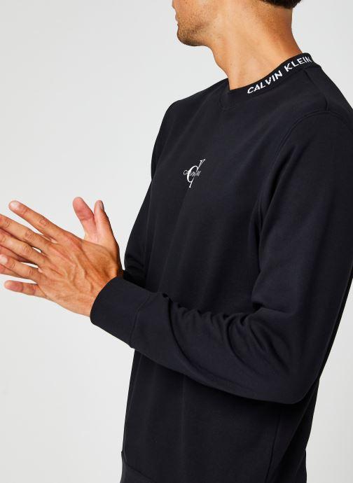 Vêtements Calvin Klein Jeans Center Monogram Crew Neck Noir vue face