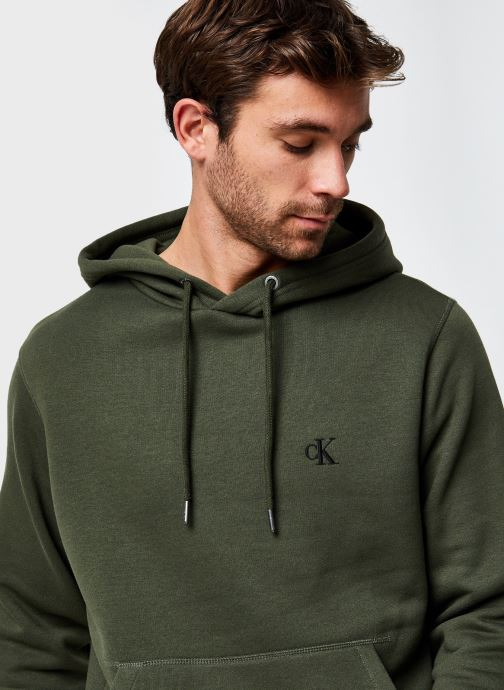 Vêtements Calvin Klein Jeans Ck Essential Regular Hoodie Vert vue face