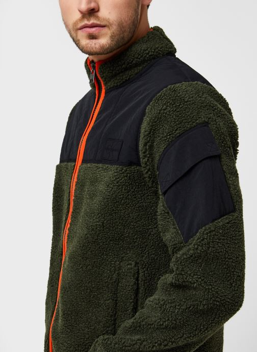 Vêtements Calvin Klein Jeans Sherpa Zip Through Vert vue face