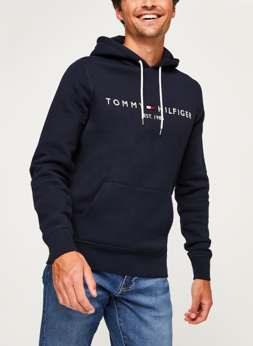 Vêtements Tommy Hilfiger Core Tommy Logo Hood Bleu vue droite