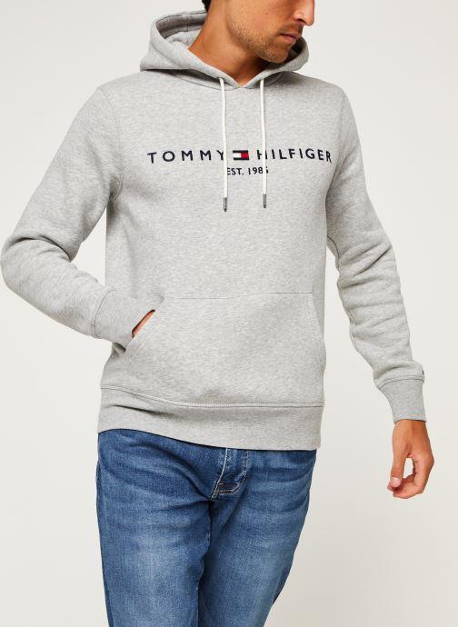 Vêtements Tommy Hilfiger Core Tommy Logo Hood Gris vue droite