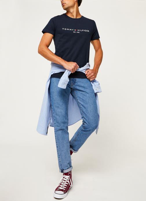 Vêtements Tommy Hilfiger Core Tommy Logo Tee Bleu vue bas / vue portée sac
