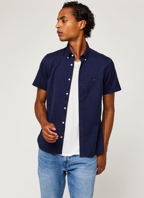 Vêtements Tommy Hilfiger Slim Fine Twill Shirt S/S Bleu vue détail/paire