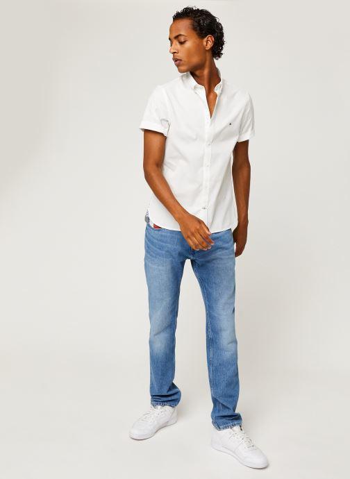 Vêtements Tommy Hilfiger Slim Fine Twill Shirt S/S Blanc vue bas / vue portée sac