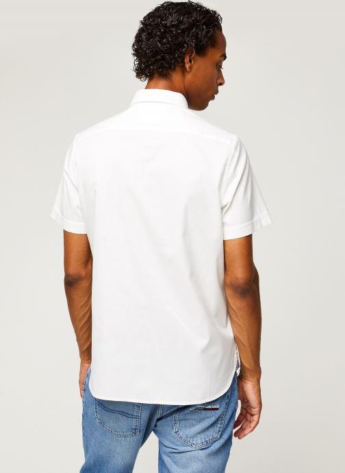 Vêtements Tommy Hilfiger Slim Fine Twill Shirt S/S Blanc vue portées chaussures