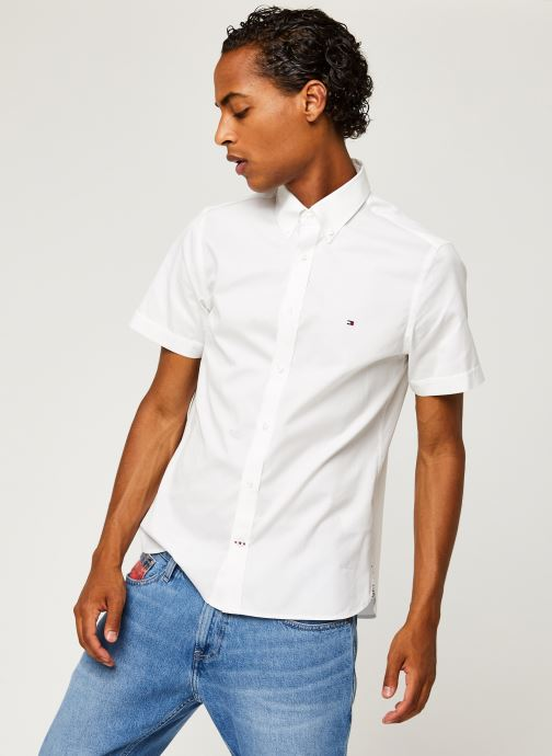 Vêtements Tommy Hilfiger Slim Fine Twill Shirt S/S Blanc vue droite