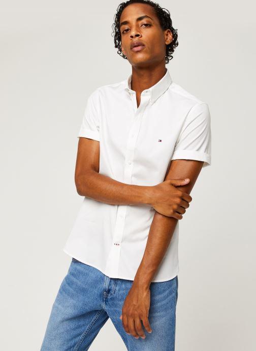 Vêtements Tommy Hilfiger Slim Fine Twill Shirt S/S Blanc vue détail/paire