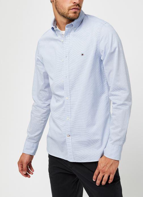 Vêtements Tommy Hilfiger Slim Small Slub Stripe Shirt Bleu vue droite