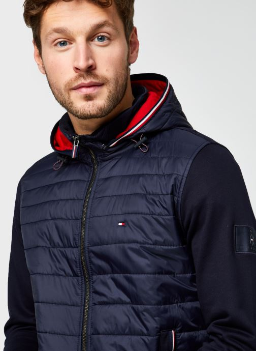 Kleding Tommy Hilfiger Mixed Media Hooded Zip Through Blauw voorkant